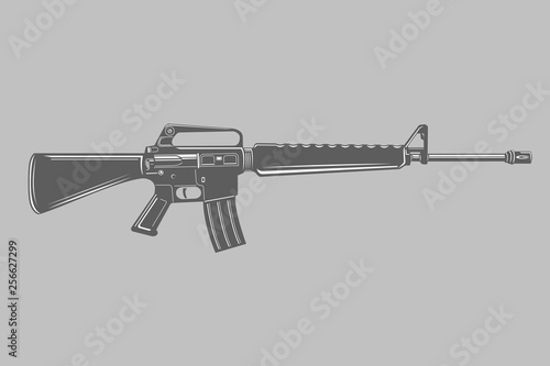 Photo M-16 legendary assault rifle vector illustration