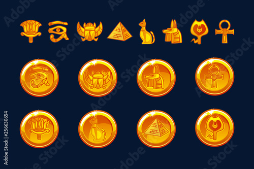 Fotografia Egypt icons coins and design elements isolated
