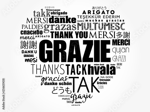Fotografia  Grazie (Thank You in Italian) love heart word cloud background in different lang