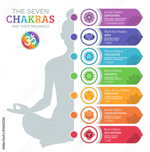 The Seven Chakras and their meanings Fototapete