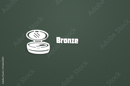 Fotografie, Obraz  3D illustration of Bronze, white color and white text with green background