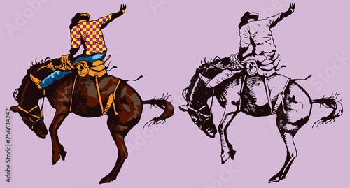 Photo  Print cowboy riding a wild horse mustang rounding a kicking horse on a rodeo gra