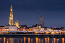 The Beautiful Skyline Of Antwerp, Belgium With The Cathedral Of Our Lady On The Left.