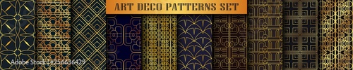 Vintage ornamental art deco retro seamless backgrounds and textures set . Vector illustration in this collection can be used for wrapping paper, wallpapers, tiling, flooring, fabric, textile