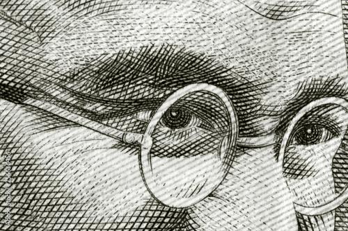 Close up shot of Gandhi on rupee note Wallpaper Mural