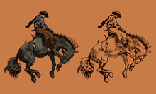 Print Cowboy Riding A Wild Horse Mustang Rounding A Kicking Horse On A Rodeo Graphic Sketch Sketching Graphics