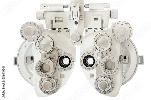 Photo  Phoropter, ophthalmic testing device machine,close up