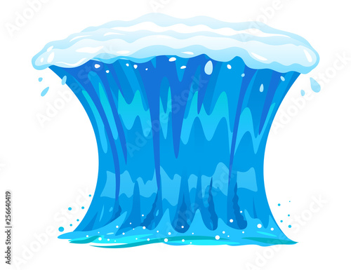 One big blue ocean wave in front view isolated, wonderful surfing wave illustration Fototapete