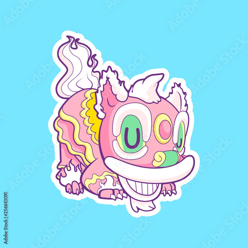 Garden Poster Creatures cute lion dance vector