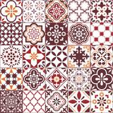 Fototapeta Kuchnia - Lisbon Azulejos tile vector pattern, Portuguese or Spanish retro old tiles mosaic, Mediterranean seamless brown design