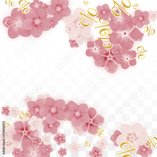 Vector Spring or Summer Sale Background with Flowers and Percent for Banner Design. Good for Special Hot Holiday Discount Offer, Black Friday, Fashion Promotion Action. Romantic Sakura Illustration.
