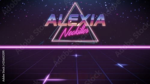 first name Alexia in synthwave style Wallpaper Mural