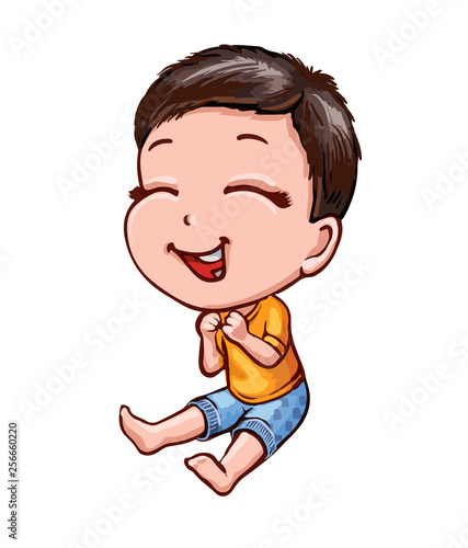 Little laughing boy with dark hair. Cartoon vector picture Wallpaper Mural