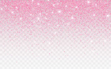 Pink Glitter Sparkle On A Transparent Background. Rose Gold Vibrant Background With Twinkle Lights. Vector Illustration