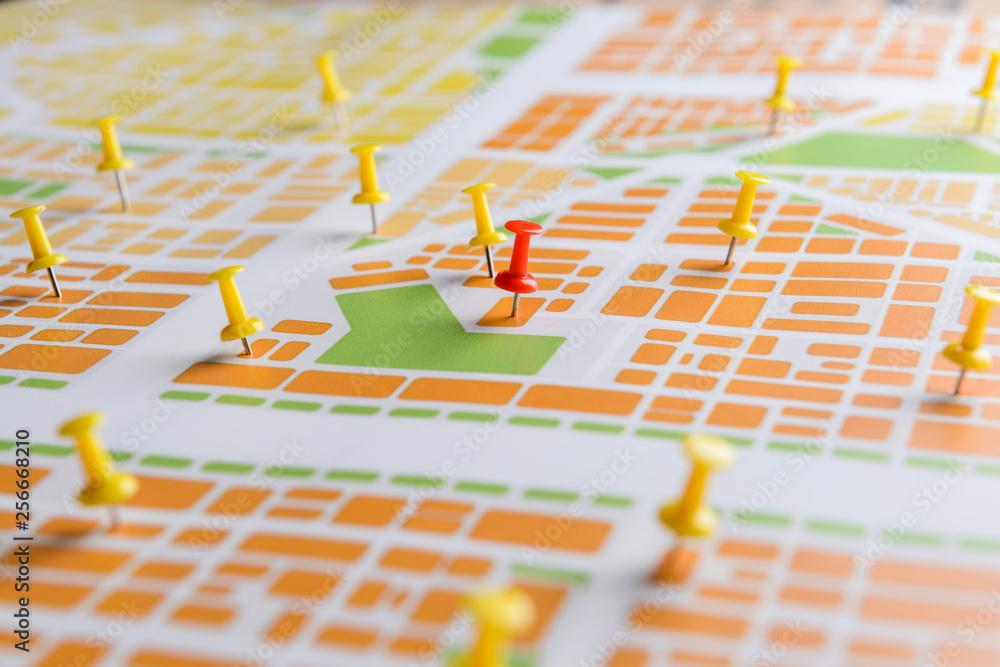 Fototapeta Pins on map, closeup