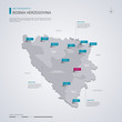 Bosnia and Herzegovina vector map with infographic elements, pointer marks.