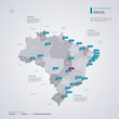 Brazil vector map with infographic elements, pointer marks.