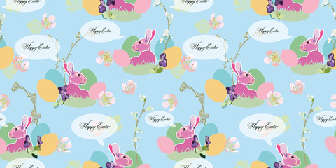 Blue pattern with bunny and easter nest.