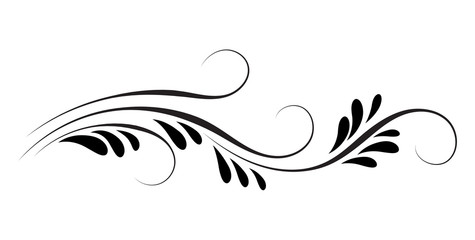 Decorative floral ornament for stencil isolated on white