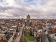 canvas print picture - Beautiful view from Belfort tower with St. Nicholas Church, Ghent, Belgium. December, 2017