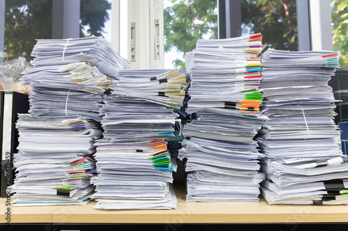 Canvas Print Business and finance concept of office working, Pile of unfinished documents on