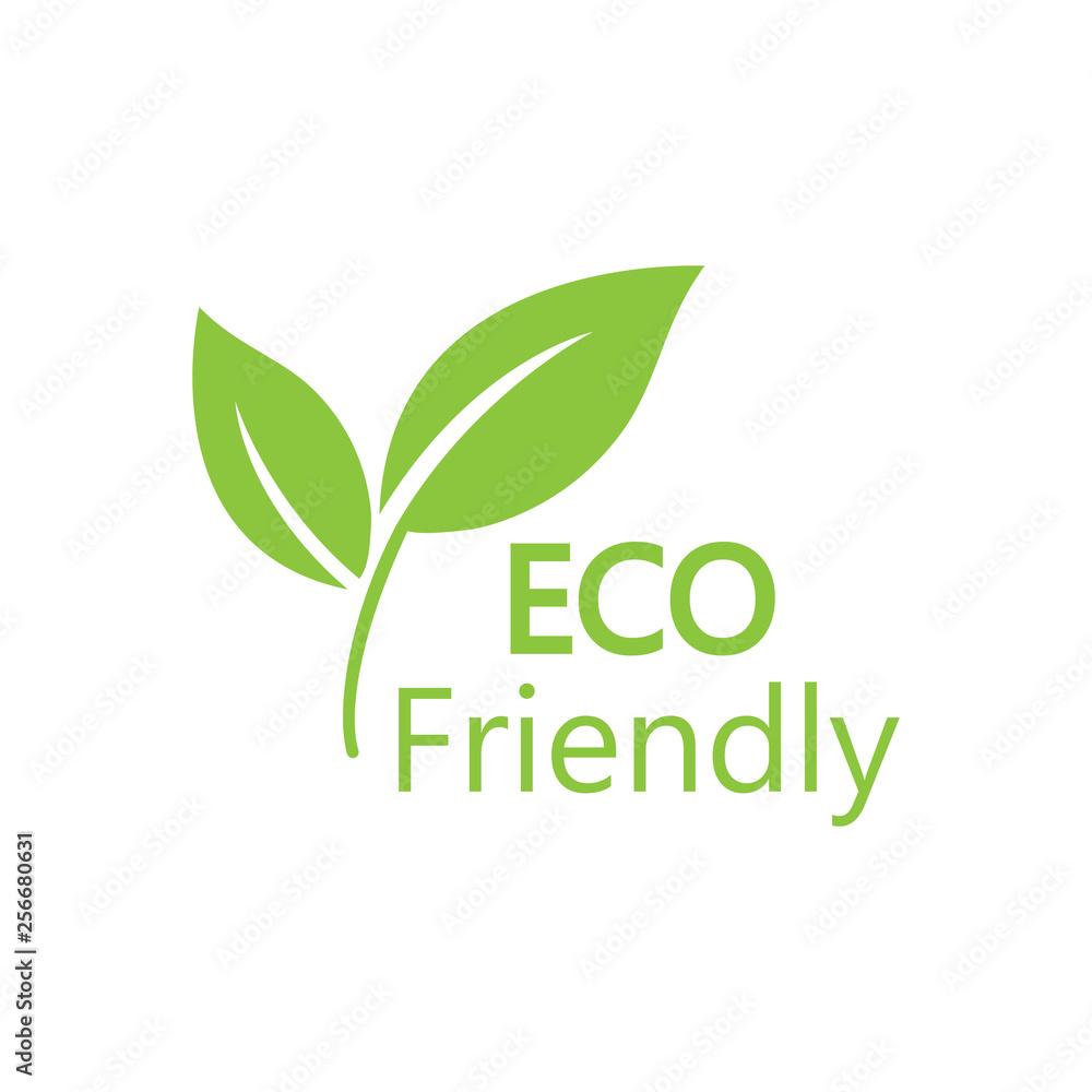 Fototapeta Eco icon. Eco friendly sign. Vector illustration, flat design.
