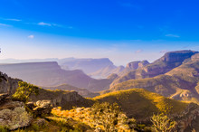 Picturesque Blyde River Canyon And Three Rondavels In Panarama R