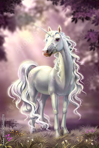 Fototapeta unicorn in full growth, against the background of the evening forest obraz