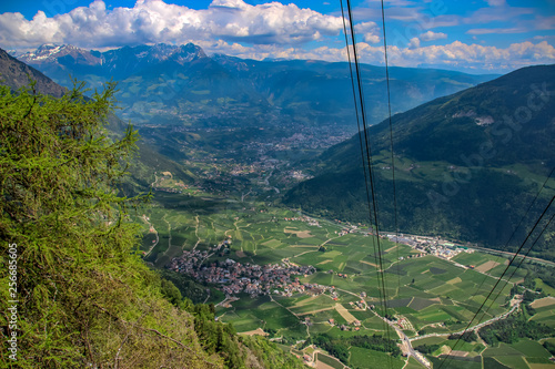 cable railway view to the valley, travel mountain hiking austria Wallpaper Mural