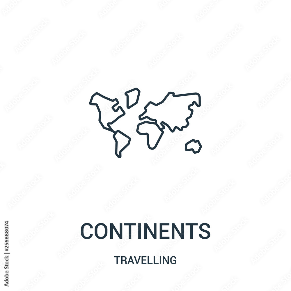 Fototapety, obrazy: continents icon vector from travelling collection. Thin line continents outline icon vector illustration. Linear symbol.