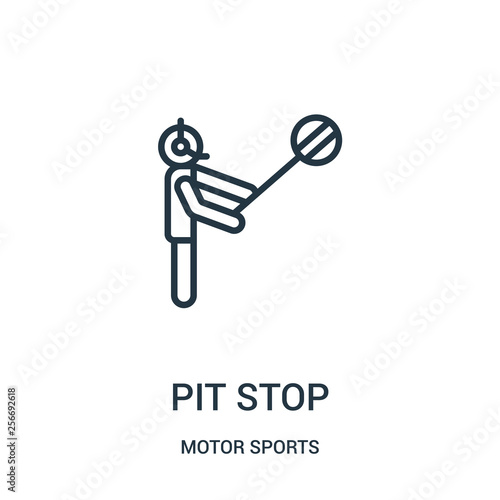 Recess Fitting F1 pit stop icon vector from motor sports collection. Thin line pit stop outline icon vector illustration. Linear symbol.