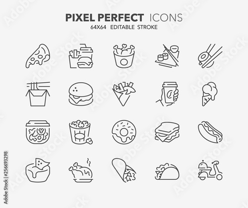 Fotografía fast food thin line icons