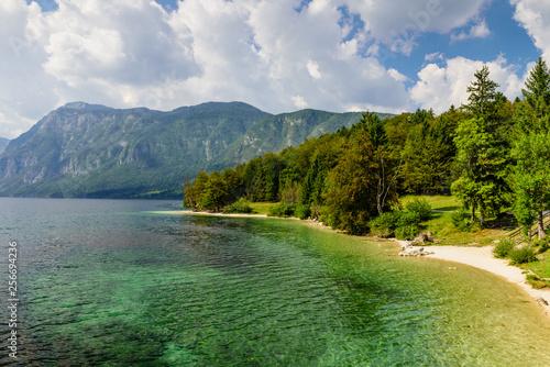 Beautiful Slovenian landscape. Bohinj Lake with turquoise