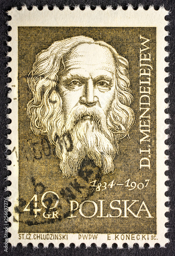 Photo  Dmitri Mendeleev portrait on post stamp