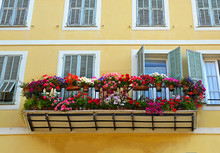 Typical Windows With Open Wooden Shutters And Balcony, Decorated With Fresh Colorful Flowers Of Medieval House In Nice, Provence, France.