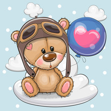 Cute Cartoon Teddy Bear Boy With Balloon