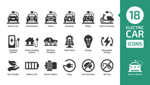 Electric Car Icon Set With Cha...