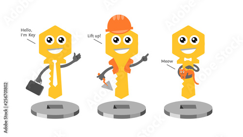 Fotografie, Obraz  Cartoon illustration of cute fun yellow key personage for development and real estate company