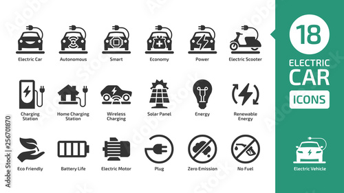 Electric car icon set with charger station, battery power and plug фототапет