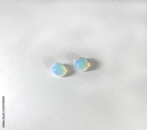 Tablou Canvas Photo of the gemstone moonstone on white background, image moonstone