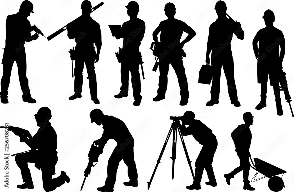 Fototapeta Construction Workers Silhouette Shape Vector