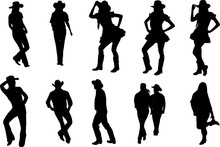 Country Line Dancing Silhouette Shape Vector