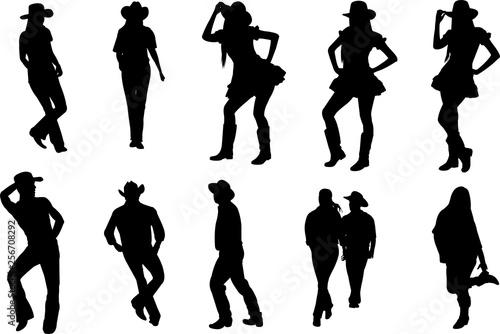 Fényképezés  Country Line Dancing Silhouette Shape Vector