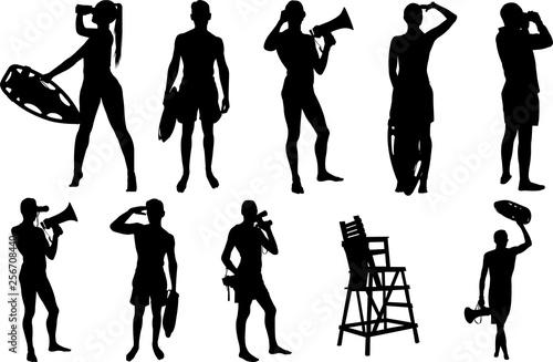Lifeguard Silhouette Shape Vector Wallpaper Mural