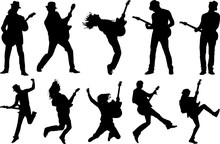 Guitar Player Silhouette Shape...