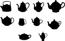 Tea Pots Silhouette Shape Vector