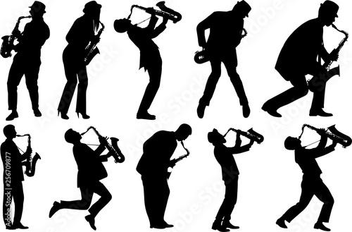 Vászonkép Saxophone Player Silhouette Shape Vector