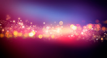 Dark Background With Multicolored Bokeh, Gradient And Abstract Bokeh Light. Magic Twinkling Sparkles.