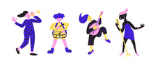 Basic Set Of Bright Colorful Artists Playing Music Instruments And Singing On Stage Concert. Collection Of Musicians Flat Vector Characters.