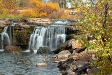 A Beautiful Tranquill Scene In The Ozarks With A Waterfall On A Pretty Autumn Day.